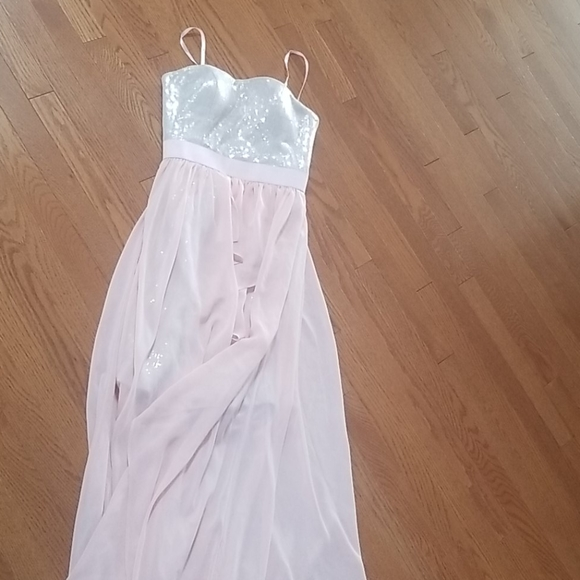 Aidan Mattox blush pink with sequin bodice gown 0